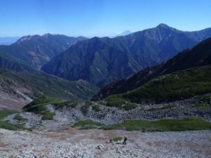 縦走路からのカール。富士山、北岳がきれい
