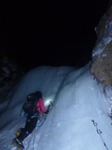大同心大滝を真っ暗な中登り出す