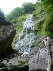 巨岩帯が終わった後に左岸に出てきた滝。緑色の藻が一面に着いて汚い