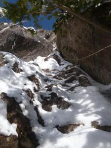 3ピッチ目も登れそうだが、懸垂できる木が見えないので、このあたりで下降