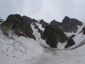 帰り道から見た南稜全景。左の尾根から、がたがたの稜線を行く