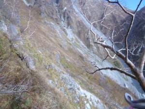 急斜面で落ちそう。右上に茶臼のコルが見える