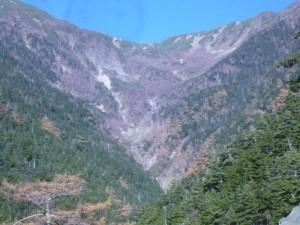 林道から見た小仙丈沢の全景