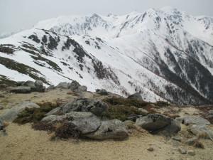 将棊頭山頂から木曽駒ヶ岳方面