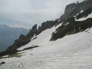 秩父岩から大ノマ岳に向かう途中の雪渓
