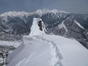 頂上直下に出たら、東尾根方面からトレースが続いていた