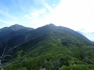 左奥の峰が聖岳と思い、「なんだ、近くて楽勝じゃん」とそのときは思っていた。本当は上河内岳という山だったのだが