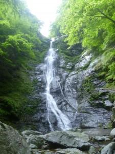 本流と第一支流の出合にある大きな滝。巻くのは大変だった